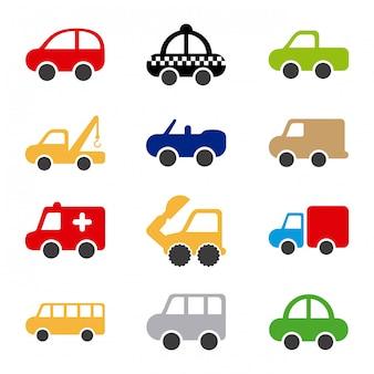 Diseño de coches sobre fondo blanco ilustración vectorial