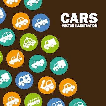 Diseño de coches sobre fondo marrón ilustración vectorial