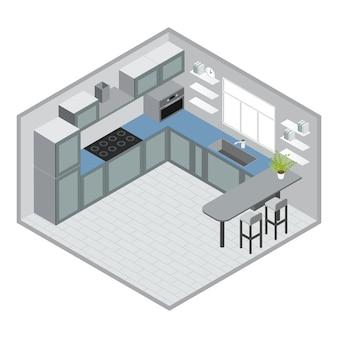 Diseño de cocina isométrica con gabinetes azules grises, microondas, barra, taburetes, ventana, piso de baldosas, reloj, ilustración vectorial