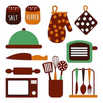 Diseño de cocina sobre fondo blanco ilustración vectorial