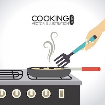 Diseño de cocina sobre fondo blanco.