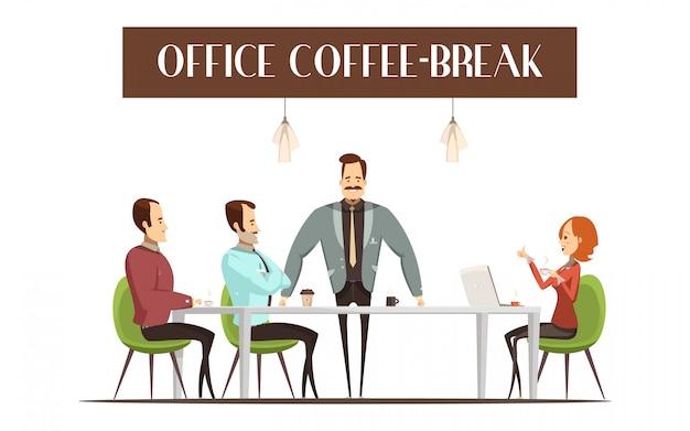 Diseño de coffee break de oficina con mujer alegre.