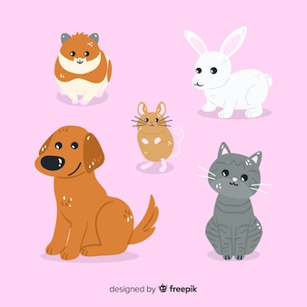 Diseño de colección de animales de dibujos animados domésticos