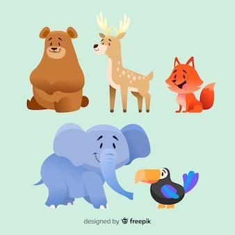 Diseño de colección de animales de dibujos animados