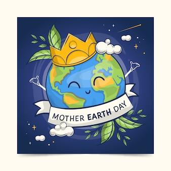 Diseño de colección de banner del día de la madre tierra dibujado a mano