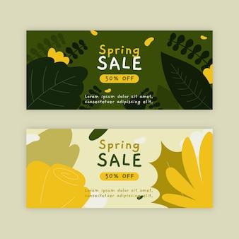 Diseño de colección de banner de venta de primavera