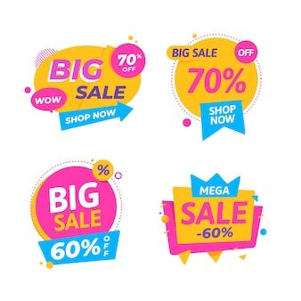 Diseño de colección de banners de venta colorido