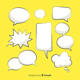 Diseño de colección de burbujas de discurso cómico