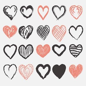Diseño de colección de corazones dibujados a mano