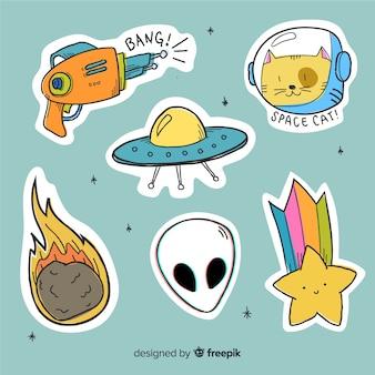 Diseño de colección de dibujos animados de etiqueta espacial