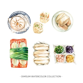 Diseño de colección dim sum con ilustración acuarela para uso decorativo.
