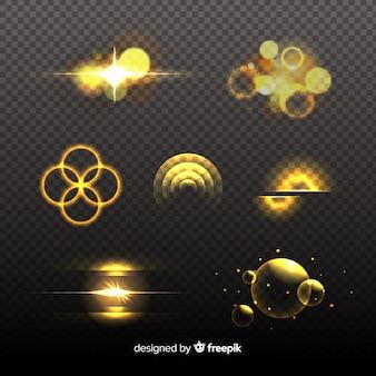 Diseño de colección de efectos de luz dorada