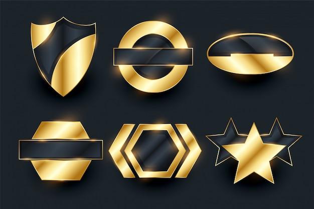 Diseño de colección de elementos de etiquetas de insignia vacía de oro