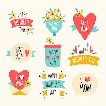 Diseño de colección de etiquetas de día de madres de diseño plano