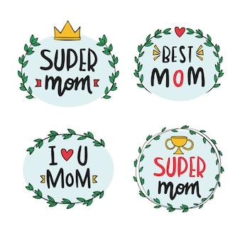 Diseño de colección de etiquetas del día de las madres
