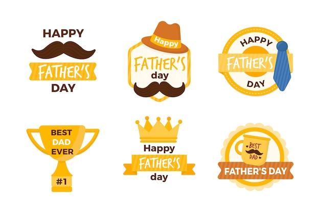 Diseño de colección de etiquetas del día del padre