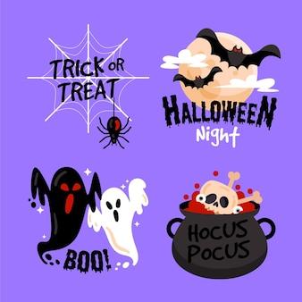 Diseño de colección de etiquetas de halloween