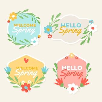 Diseño de colección de etiquetas de primavera dibujadas a mano