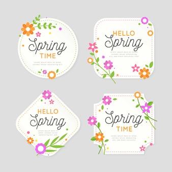 Diseño de colección de etiquetas de primavera de diseño plano