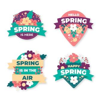 Diseño de colección de etiquetas de primavera