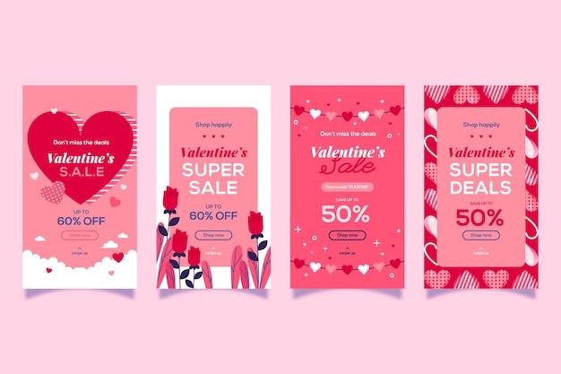 Diseño de colección de historia de venta de día de san valentín