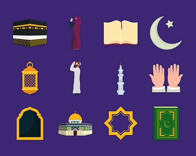 Diseño de colección de iconos de peregrinación islámica