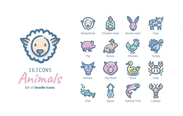 Diseño de colección de iconos de vector de animales