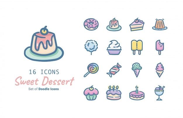 Diseño de colección de iconos de vector de postre dulce