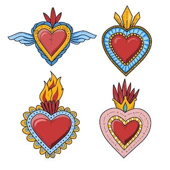 Diseño de colección de ilustración de corazón sagrado