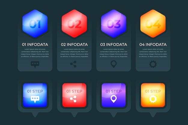 Diseño de colección de infografía brillante 3d
