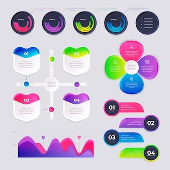 Diseño de colección de infografía gradiente