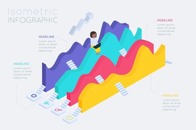 Diseño de colección de infografía isométrica.