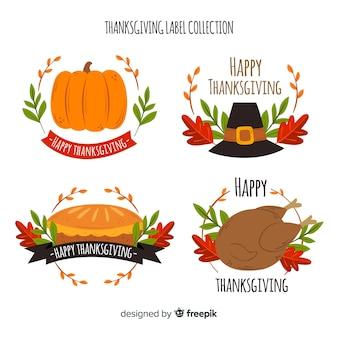 Diseño de colección de insignias del día de acción de gracias