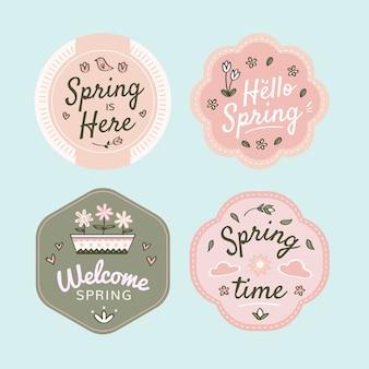 Diseño de colección de insignias de primavera dibujado a mano.