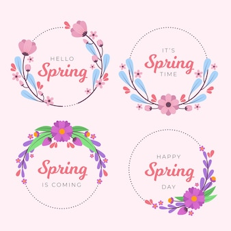 Diseño de colección de insignias de primavera de diseño plano