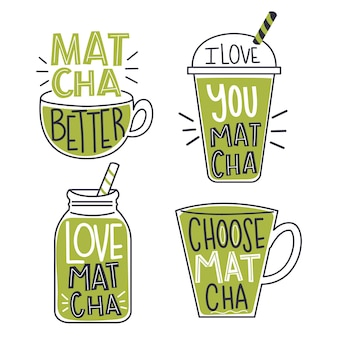 Diseño de colección de insignias de té matcha