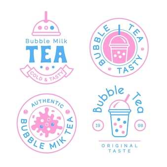 Diseño de colección de logo bubble tea