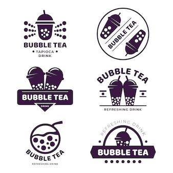 Diseño de colección de logos de bubble tea