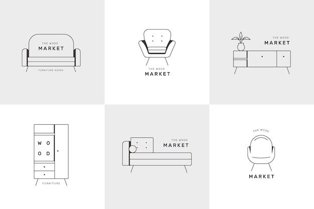 Diseño de colección de logotipos de muebles
