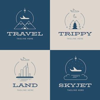 Diseño de colección de logotipos de viajes