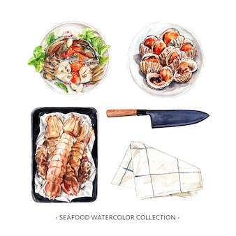 Diseño de colección de mariscos con ilustración acuarela para uso decorativo.