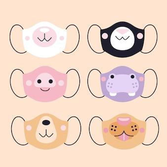 Diseño de colección de mascarillas de animales