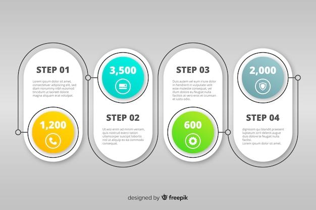 Diseño de colección de pasos de infografía