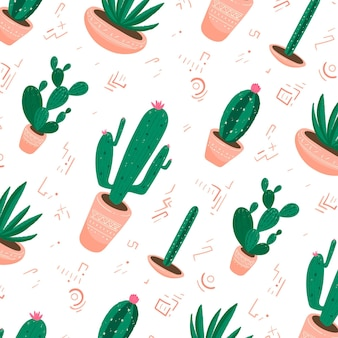 Diseño de colección de patrones de cactus