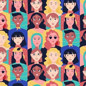 Diseño de colección de patrones del día de las mujeres