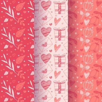Diseño de colección de patrones de día de san valentín de diseño plano