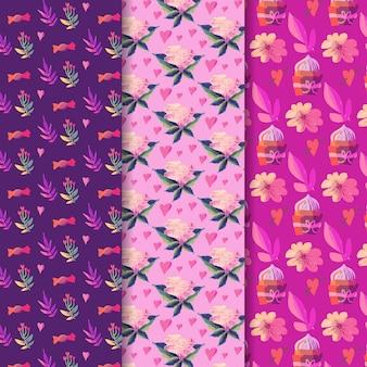 Diseño de colección de patrones del día de san valentín