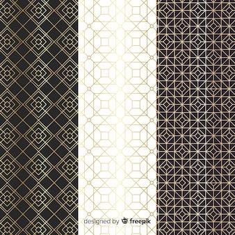 Diseño de colección de patrones geométricos de lujo.