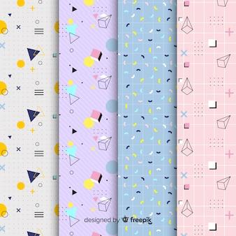 Diseño de colección de patrones de memphis para el fondo