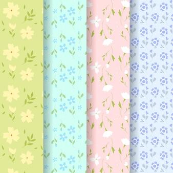 Diseño de colección de patrones de primavera de diseño plano